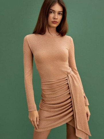 REFORMATION Paprika Dress Golden Hour – high neck party dresses – evening glamour – ruched fashion - flipped