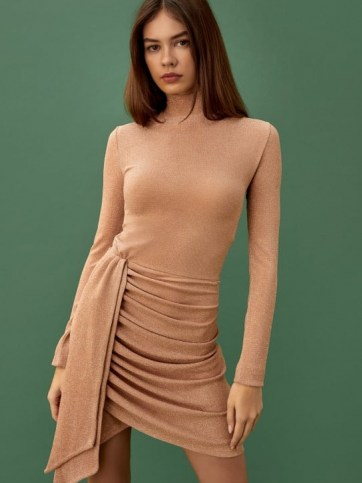REFORMATION Paprika Dress Golden Hour – high neck party dresses – evening glamour – ruched fashion