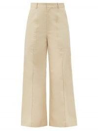 CO Patch-pocket cotton-poplin wide-leg trousers | smart-casual beige pants