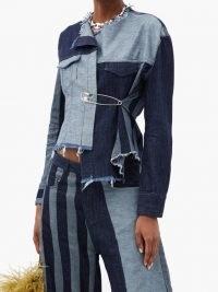 MARQUES'ALMEIDA Patchwork denim jacket | asymmetric outerwear | raw edge jackets