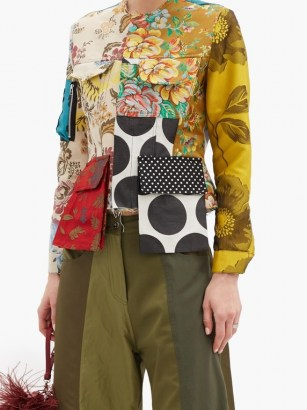 MARQUES'ALMEIDA Patchwork upcycled cotton-blend twill jacket / mixed floral print jackets - flipped