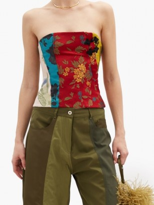 MARQUES'ALMEIDA Patchwork upcycled floral-brocade corset / strapless mixed floral tops - flipped