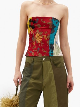 MARQUES'ALMEIDA Patchwork upcycled floral-brocade corset / strapless mixed floral tops