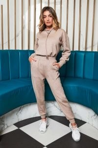 patricia bright cuffed relaxed jogger in mink ~ cuffed joggers ~ celebrity inspired casual fashion