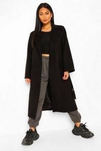 boohoo Petite Belted Wool Look Maxi Coat | longline wrap coats | winter outerwear