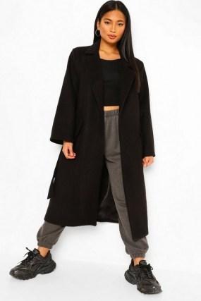 boohoo Petite Belted Wool Look Maxi Coat | longline wrap coats | winter outerwear - flipped