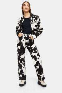 Topshop PETITE Cow Print 90s Straight Jeans | printed denim | animal prints