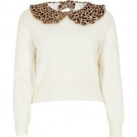 RIVER ISLAND Petite cream leopard print collar jumper / collared jumpers