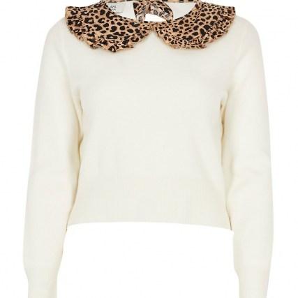 RIVER ISLAND Petite cream leopard print collar jumper / collared jumpers - flipped