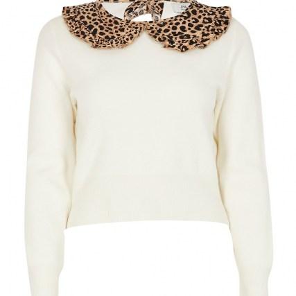 RIVER ISLAND Petite cream leopard print collar jumper / collared jumpers
