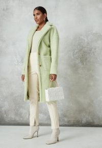 MISSGUIDED petite lime borg teddy patch pocket coat ~ green textured winter coats