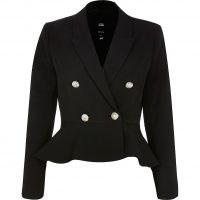 RIVER ISLAND Petite peplum gold button blazer ~ petites outerwear ~ frill hem blazers ~ jackets