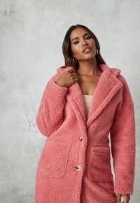 MISSGUIDED petite rose borg teddy patch pocket coat / pink textured winter coats