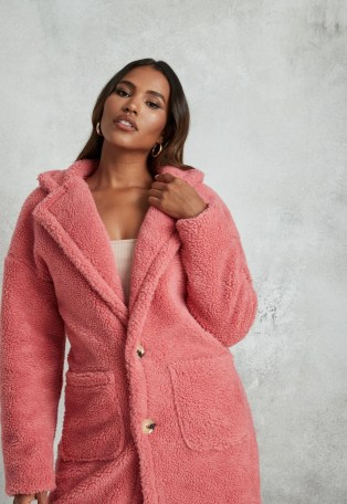 MISSGUIDED petite rose borg teddy patch pocket coat / pink textured winter coats - flipped