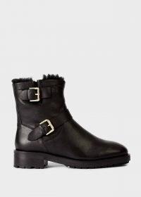 HOBBS PHILLIPA ANKLE BOOT – black leather biker boots – buckle detail winter footwear – essential casual weekend style