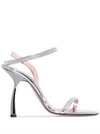 Piferi Fantasia 100mm sandals / metallic silver and blush pink evening heels