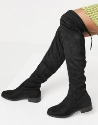 Pimkie faux suede over the knee high boots in black | overknee