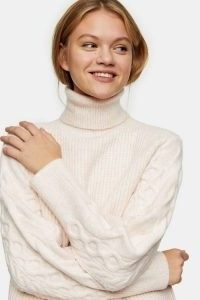 Topshop Pink Cable Knitted Roll Neck Jumper | high neck jumpers