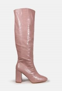 MISSGUIDED pink croc block heel knee high boots