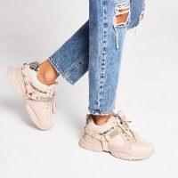 RIVER ISLAND Pink embellished strap lace up trainers / chunky sneakers