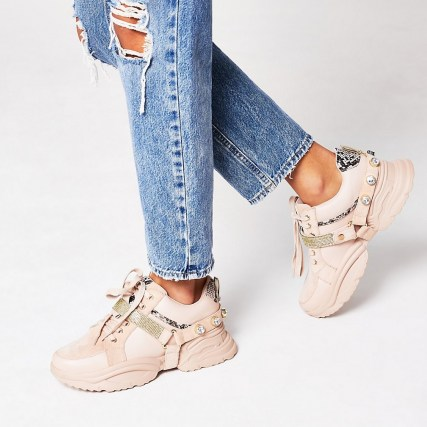 RIVER ISLAND Pink embellished strap lace up trainers / chunky sneakers - flipped