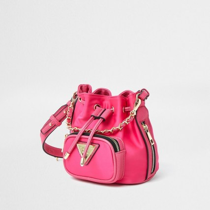 RIVER ISLAND Pink faux leather mini duffle bag ~ small crossbody