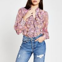 RIVER ISLAND Pink floral long sleeve ruffle neck blouse ~ ruffled blouses