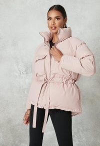 MISSGUIDED pink gathered waist puffer jacket ~ puffy winter jackets