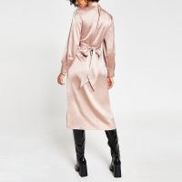 RIVER ISLAND Pink long sleeve tie waist midi dress ~ satin style high neck dresses