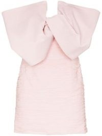Magda Butrym bow detail fitted mini dress in light-pink ~ evening glamour ~ glamorous party dresses