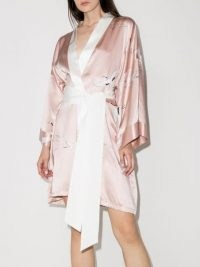 Olivia von Halle bird-print silk short robe / pink robes / nightwear