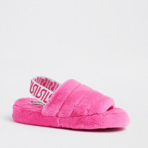 RIVER ISLAND Pink RI faux fur mule slippers - flipped