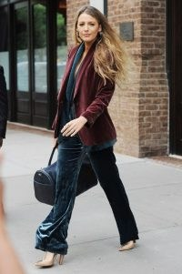 Blake Lively's velvet outfit ~ celebrity street style outfits