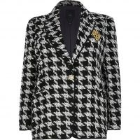 RIVER ISLAND Plus black boucle dogtooth badged blazer ~ plus size checked blazers ~ houndstooth tweed style jackets