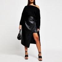 River Island Plus black faux leather front wrap skirt – plus size skirts