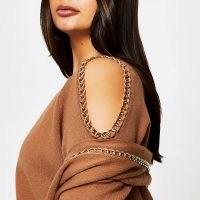 RIVER ISLAND Plus brown chain cold shoulder jumper ~ plus size fashion ~ knitwear ~ tops
