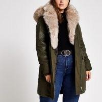 RIVER ISLAND Plus khaki long sleeve faux fur parka coat / green plus size parkas / winter coats