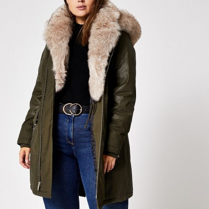 RIVER ISLAND Plus khaki long sleeve faux fur parka coat / green plus size parkas / winter coats - flipped