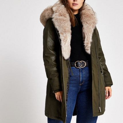 RIVER ISLAND Plus khaki long sleeve faux fur parka coat / green plus size parkas / winter coats