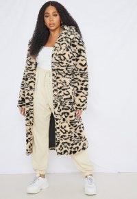 MISSGIUIDED plus size cream leopard print borg teddy coat / winter glamour / wild animal print coats