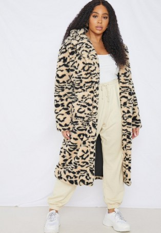 MISSGIUIDED plus size cream leopard print borg teddy coat / winter glamour / wild animal print coats - flipped
