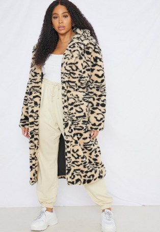 MISSGIUIDED plus size cream leopard print borg teddy coat / winter glamour / wild animal print coats