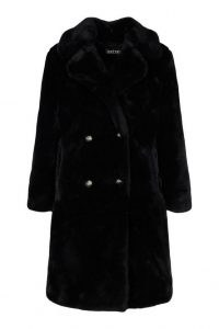 boohoo Plush Faux Fur Double Breasted Coat in Black / classic winter glamour / glamorous coats