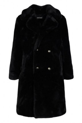 boohoo Plush Faux Fur Double Breasted Coat in Black / classic winter glamour / glamorous coats - flipped