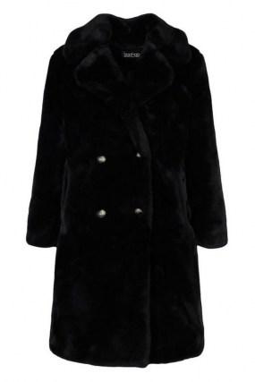 boohoo Plush Faux Fur Double Breasted Coat in Black / classic winter glamour / glamorous coats