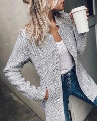 Pocket Design Long Sleve Casual Coat MS0921-iv-ga