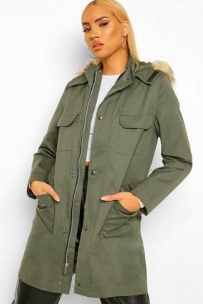 boohoo Pocket Detail Faux Fur Trim Parka | khaki green hooded coats - flipped