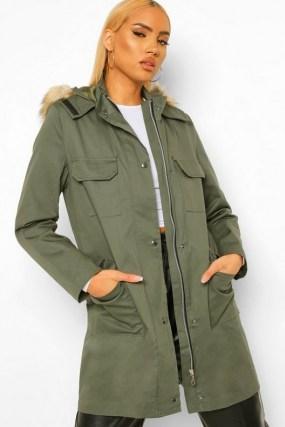 boohoo Pocket Detail Faux Fur Trim Parka | khaki green hooded coats