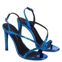 Giuseppe Zanotti Polina electric blue mirrored leather sandals ~ strappy heels