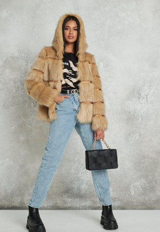 Missguided premium beige pelted faux fur hooded coat | fluffy winter coats with hood - flipped